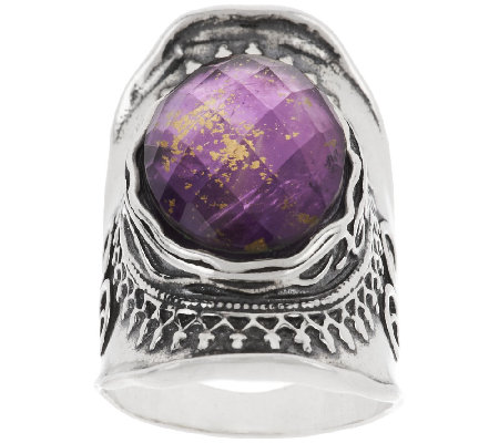 Sterling Amethyst & 18K Gold Foil Triplet Ring by Or Paz