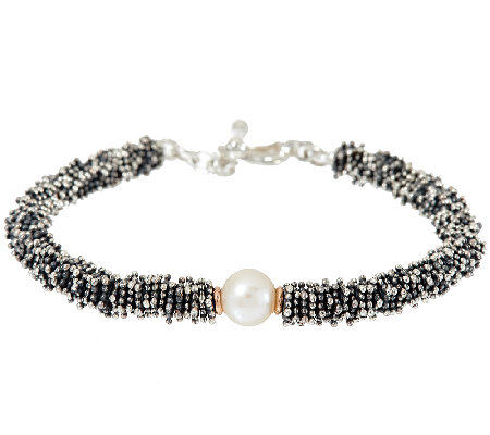 Michael Dawkins Sterling Granulation & Cultured Pearl Toggle Bracelet