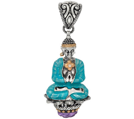 Barbara Bixby Sterling & 18K Buddha & Amethyst Enhancer