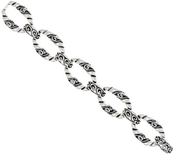 Carolyn Pollack Sterling Silver Signature Link Average Bracelet 38.0g - J325569