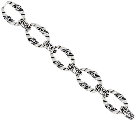 Carolyn Pollack Sterling Silver Signature Link Average Bracelet 38.0g