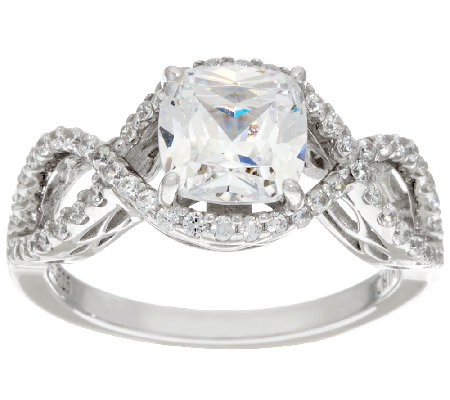 Diamonique Cushion Cut Infinity Bridal Ring, Platinum Clad