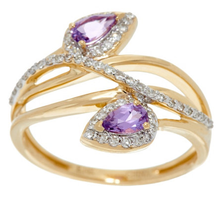Pear Shaped Purple Sapphire & Diamond Ring 14K Gold 0.40 cttw