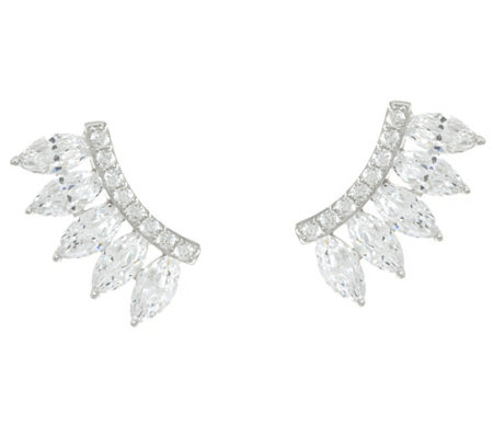 Diamonique Marquise Cut Ear Climber Earrings, Sterling