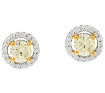 Diamonique Canary Yellow Halo Stud Earrings, Sterling - J329869