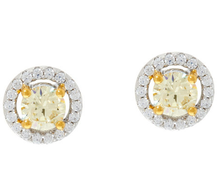 Diamonique Canary Yellow Halo Stud Earrings, Sterling