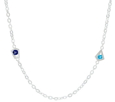 "Franco P Sterling 0.50 cttw Gemstone Stars 18"" Necklace"