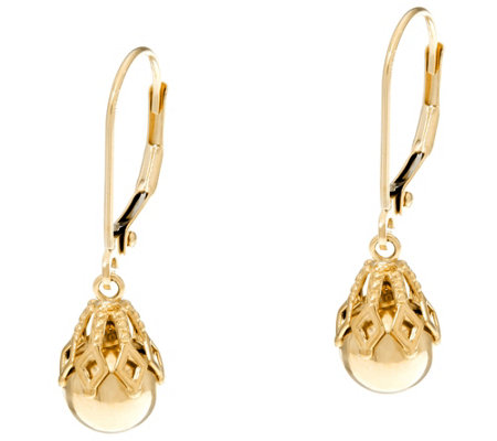 EternaGold Polished Bead w/ Filigree Cap Dangle Earrings 14K Gold