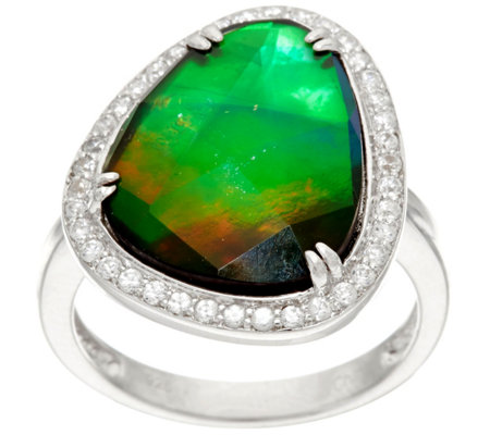 Ammolite Triplet and White Zircon Organic Design Sterling Ring