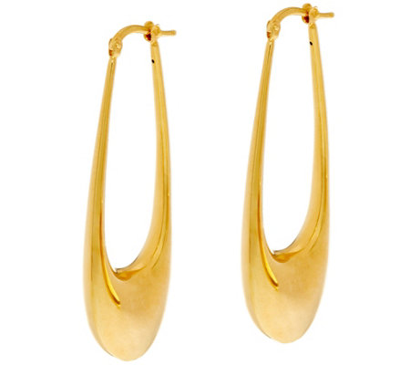 "Arte d' Oro Polished 2"" Elongated Oval Hoop Earrings 18K Gold"