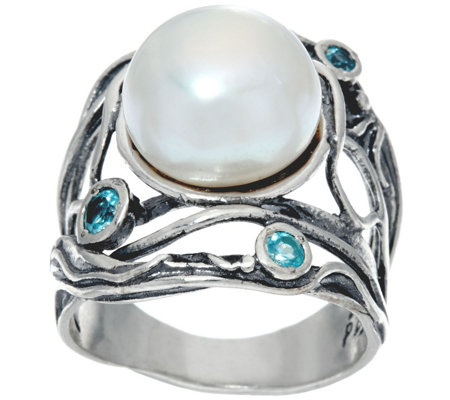 Sterling Silver Cultured Pearl & Gemstone Ring by Or Paz