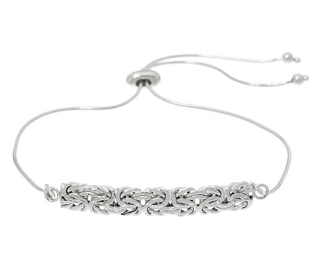 """As Is"" Sterling Silver Byzantine Bar Adjustable Bracelet"