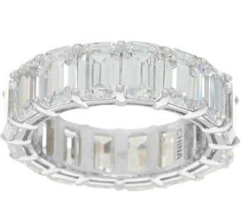 Diamonique Emerald Cut Band Ring Sterling or 14K Clad - J332769