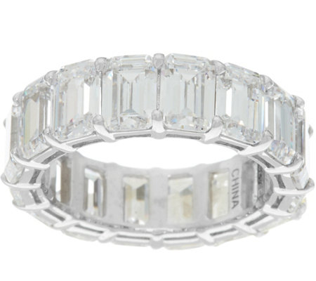 Diamonique Emerald Cut Band Ring Sterling or 14K Clad