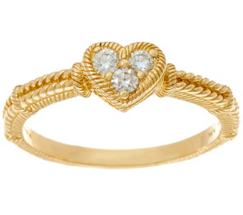Judith Ripka 14K Gold 1/6 cttw Diamond Heart Ring - J333669