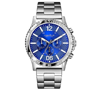 Caravelle New York Men's Blue Dial Stainless Steel Watch - J336569