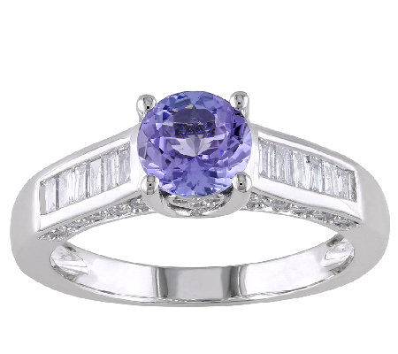 1cttw Tanzanite & Diamond Accent Ring, 14K White Gold