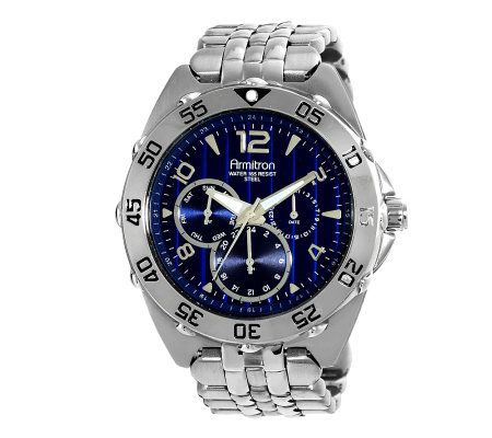 Armitron Men's Stainless Multifunction Blue Dial Sport Watch