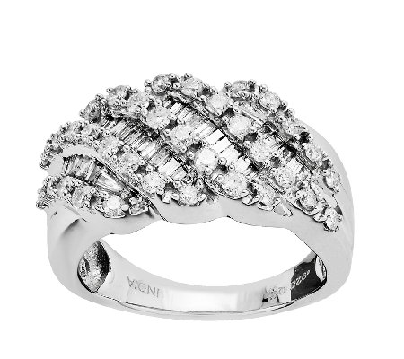 Sterling 1.00cttw Round & Baguette Diamond Ring