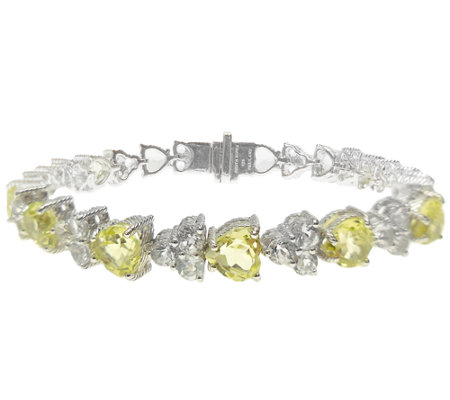 Judith Ripka Sterling Gemstone Heart Tennis Bracelet, 6-3/4""
