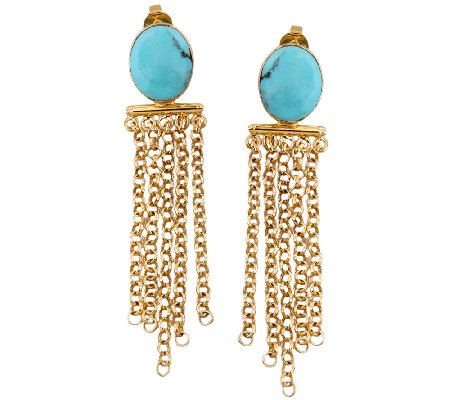 Sterling & 14K Gold-Plated Turquoise Fringe Earrings