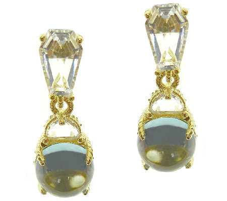 Judith Ripka Sterling & 14K-Clad Blue Topaz Drop Earrings