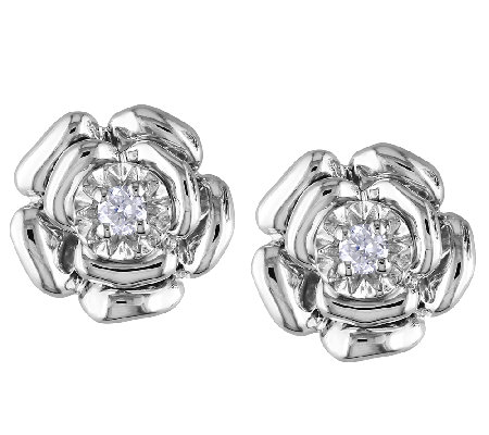 Diamond Flower Earrings, 1/10cttw, Sterling, by Affinity
