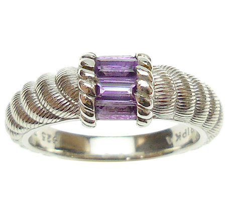 Judith Ripka Sterling Silver and Amethyst Ring