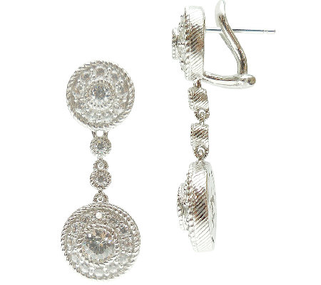Judith Ripka Sterling Diamonique Round Drop Ear rings