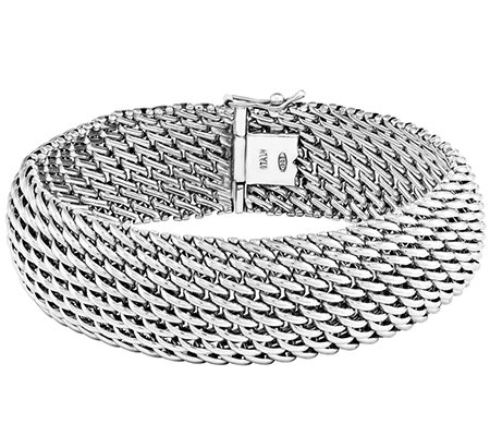 "Sterling Polished Mesh Link 7-3/4"" Bracelet"