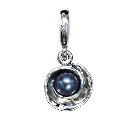 Hagit Sterling Peacock Cultured Pearl Flower Charm