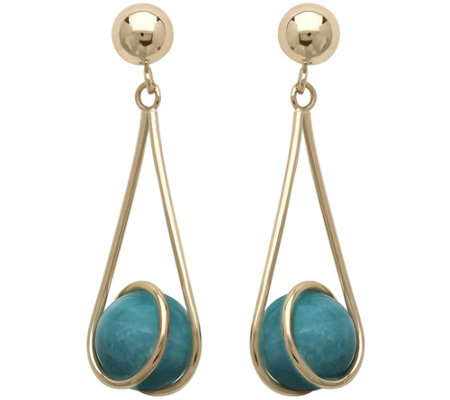 EternaGold Turquoise Bead Drop Earrings, 14K
