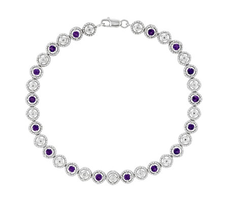 "Sterling Gemstone & Diamond Accent 7-7/8"" Bracelet"