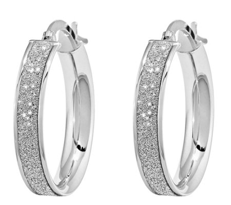 14K White Gold and Glitter-Infused Round  Earrings