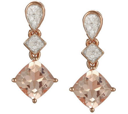 1.20 cttw Morganite & 1/10 cttw Diamond Earrings, Sterling