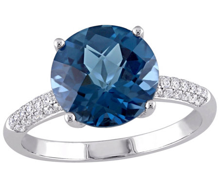 4.55 ct London Blue Topaz & 1/7 cttw Diamond Ring, 14K