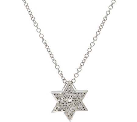 Diamonique Star of David Pendant w/ Chain, Sterling