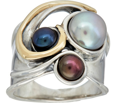 Hagit Sterling Silver & 14K Gold Cultured Pearl Ring