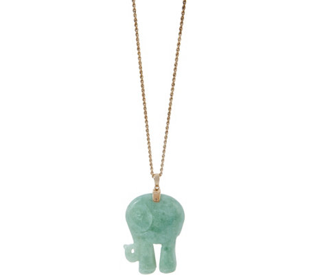 "Burmese Jade Carved Elephant Pendant on 30"" Chain 14K Gold"