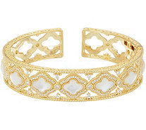Judith Ripka 14K Clad Diamonique & Mother of Pearl Cuff Bracelet - J348369