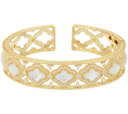 Judith Ripka 14K Clad Diamonique & Mother of Pearl Cuff Bracelet