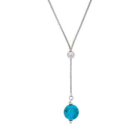 Italian Silver Turquoise Bead Adjustable Necklace, Sterling