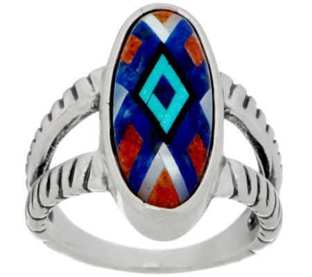American West Sterling Silver Multi-Gemstone Inlay Ring