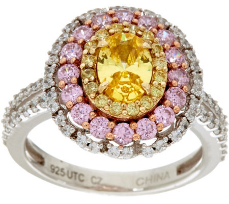 """As Is"" Diamonique Oval Canary & Pink Halo Ring, Sterling"