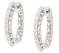White Diamond Huggie Hoops, 1/5 cttw, Sterling, by Affinity - J354069