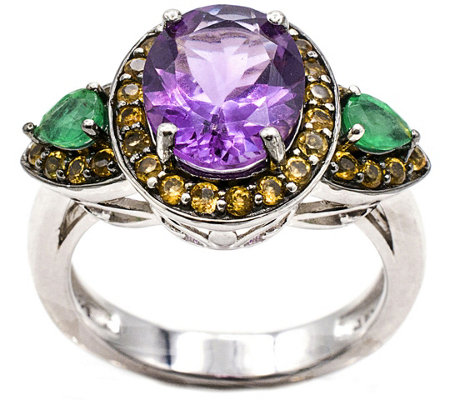 Sterling 8.80 cttw Multi Gemstone Ring