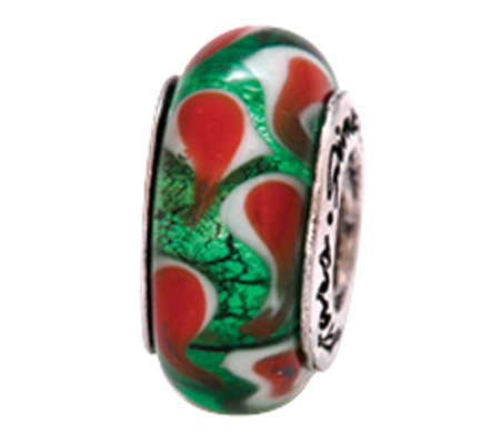 Prerogatives Sterling Green, Red, and WhiteGlass Bead