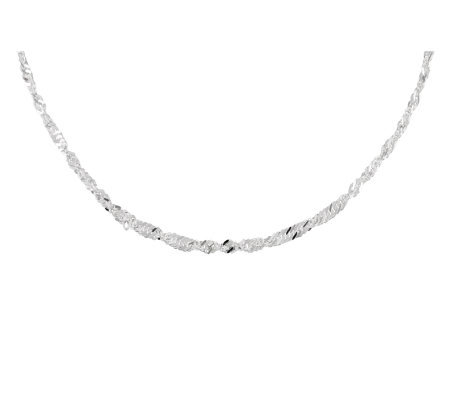 "UltraFine Silver 20"" Singapore Chain Necklace,6.6g"