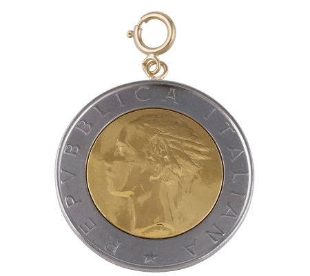 500-Lire Coin Charm, 14K Gold