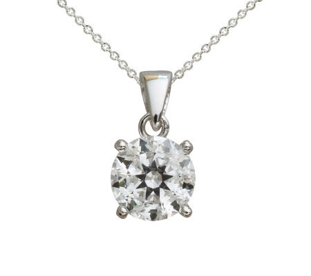 Diamonique 100-Facet 2 cttw Round Pendant, Platinum Clad